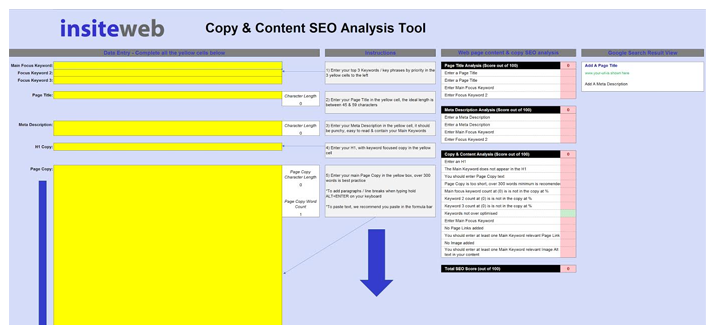 Use the FREE Insite Web SEO Tool to hone your content